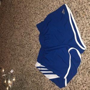 blue and white adidas shorts